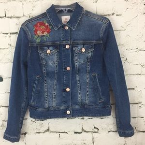 Lularoe Denim Jean Jacket embroidered Roses